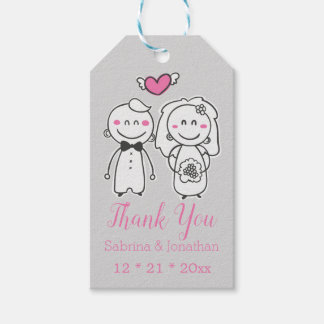 Pink Gray Wedding Thank You Bride & Groom Cartoon Gift Tags
