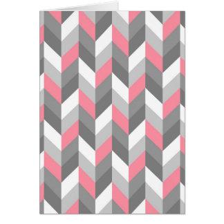 Pink Gray White Herringbone Chevron ZigZag Pattern Card