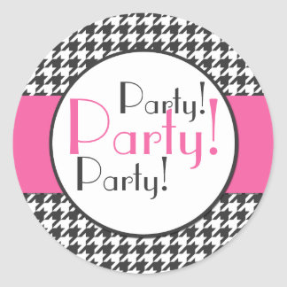 Pink, Gray, White Houndstooth Party Sticker