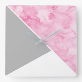 Pink Gray White Modern Square Wall Clock
