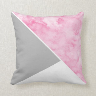 Pink Gray White Modern Throw Pillow