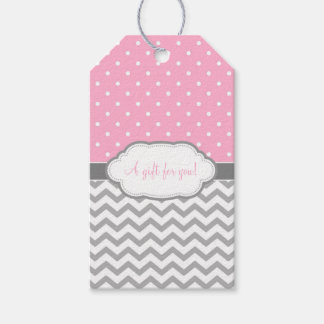 Pink Gray White Polka Dot Chevron Gift Tags