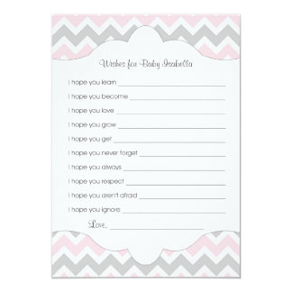 Pink Gray Wishes for Baby / great baby shower idea Card