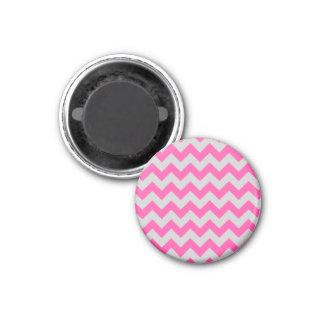 Pink Gray Zigzag Chevron Pattern Girly 1 Inch Round Magnet
