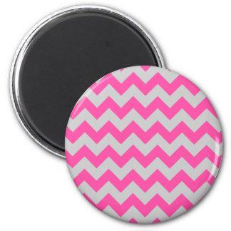 Pink Gray Zigzag Chevron Pattern Girly 2 Inch Round Magnet