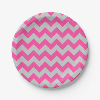Pink Gray Zigzag Chevron Pattern Girly 7 Inch Paper Plate