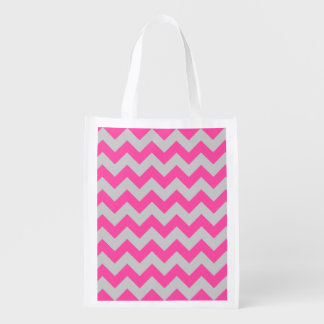 Pink Gray Zigzag Chevron Pattern Girly Grocery Bag