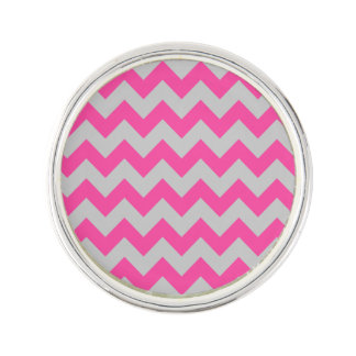 Pink Gray Zigzag Chevron Pattern Girly Lapel Pin