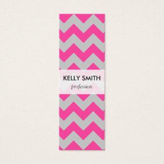Pink Gray Zigzag Chevron Pattern Girly Mini Business Card