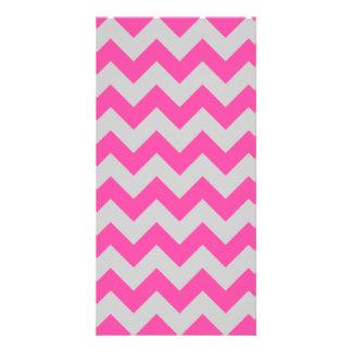 Pink Gray Zigzag Chevron Pattern Girly Photo Card Template