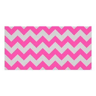 Pink Gray Zigzag Chevron Pattern Girly Picture Card