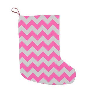 Pink Gray Zigzag Chevron Pattern Girly Small Christmas Stocking