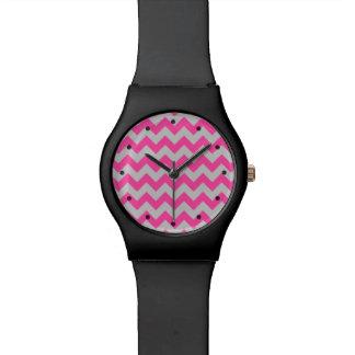 Pink Gray Zigzag Chevron Pattern Girly Watch