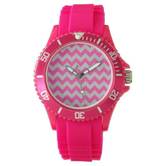 Pink Gray Zigzag Chevron Pattern Girly Watches