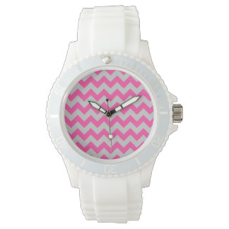 Pink Gray Zigzag Chevron Pattern Girly Wrist Watches