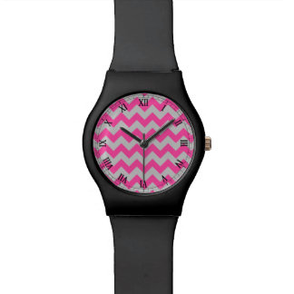 Pink Gray Zigzag Chevron Pattern Girly Wristwatches