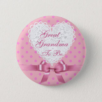 Pink  Great Grandma to be Baby Shower Button