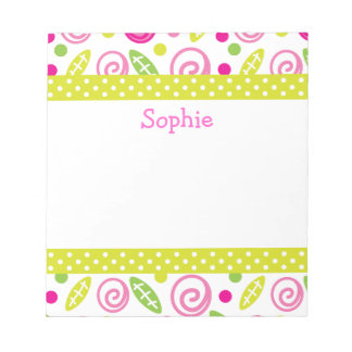 Pink & Green Abstract Flowers Personalized Notepad