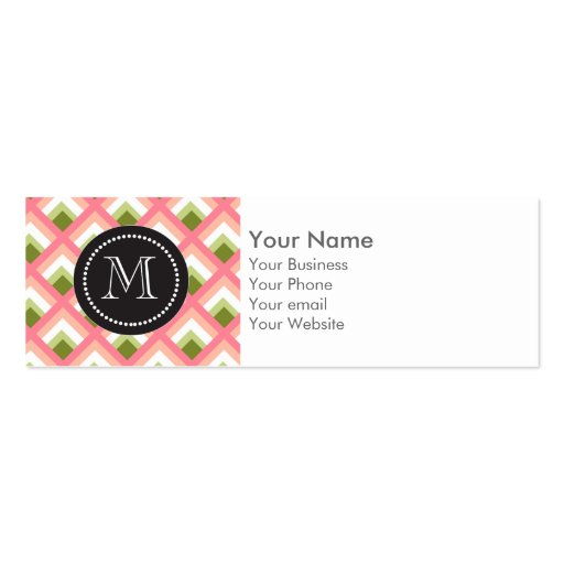 Pink Green Abstract Geometric Designs Color Business Card Template