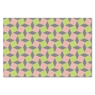 Pink Green Abstract Geometric Ikat Square Pattern Tissue Paper
