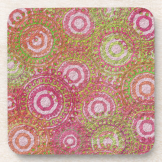 Pink green abstract retro coaster