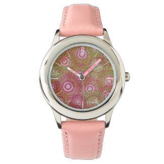 Pink green abstract retro wrist watches