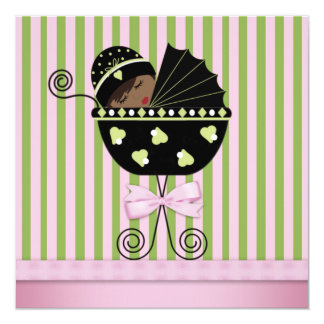 Pink Green African American Baby Girl Shower Card
