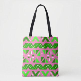 Pink & Green African Pattern Tote Bag
