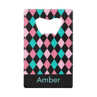 Pink Green and Black diamond geometric design Credit Card Bottle Opener