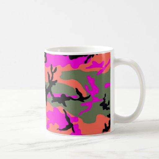 Pink Green and Orange Camouflage Mug