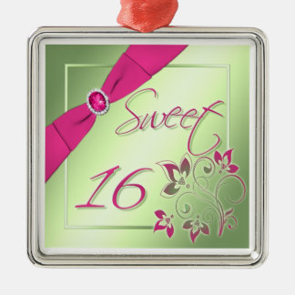 Pink, Green, and Yellow Sweet Sixteen Ornament