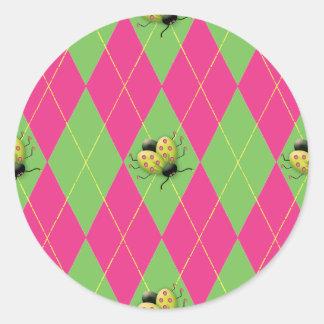 Pink & Green Argyle Ladybug Round Sticker