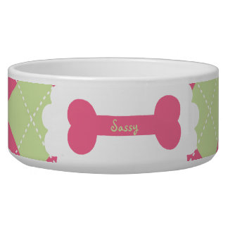 Pink & Green Argyle Personalized Dog Bowls
