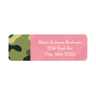 Pink & Green Army Camouflage Camo Address Labels