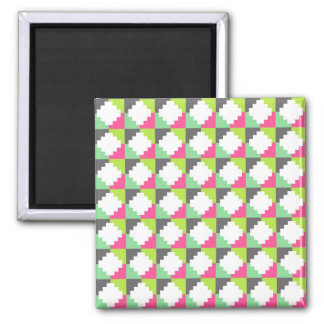 Pink Green Aztec Andes Tribal Block Pattern Square Magnet