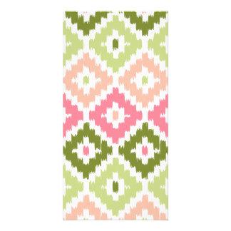 Pink Green Aztec Tribal Print Ikat Diamond Pattern Photo Card Template
