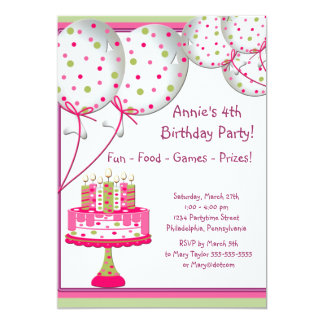 Pink Green Balloons Cake Girls 4th Birthday Party Card