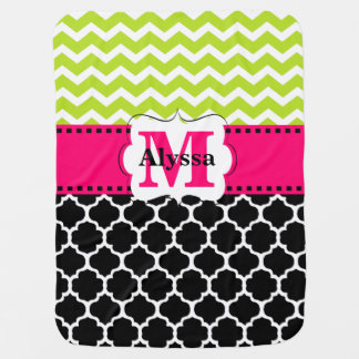 Pink Green Black Chevron Personalized Baby Blanket