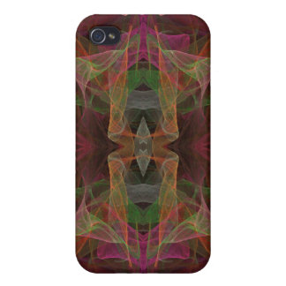 Pink, Green & Black Fractal 4  iPhone 4 Covers