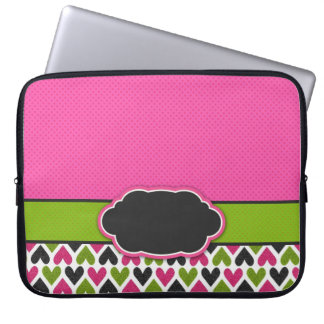Pink, Green, Black Hearts and Dots Laptop Sleeve