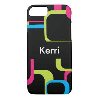 Pink Green Blue Black Retro Square Personalize Case-Mate iPhone Case