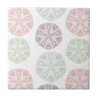 Pink green blue pastel color mandala pattern ceramic tile