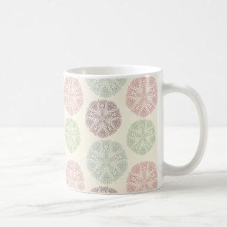 Pink green blue pastel color mandala pattern coffee mug