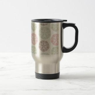 Pink green blue pastel color mandala pattern travel mug