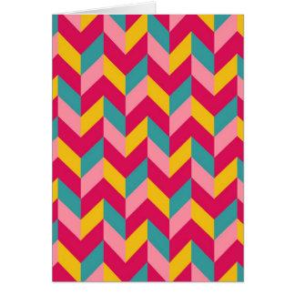 Pink Green Blue Yellow Herringbone Chevron Pattern Card