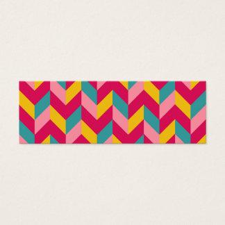 Pink Green Blue Yellow Herringbone Chevron Pattern Mini Business Card