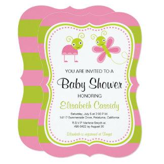 Pink Green, Bracket Lady Bug Baby Shower Invite. Card