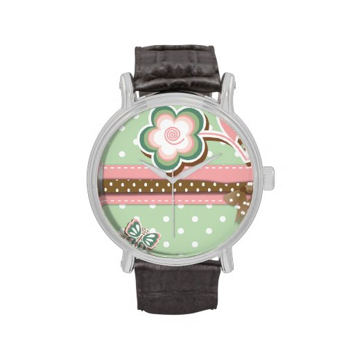 Pink, Green & Brown Floral Dots Vintage Watch