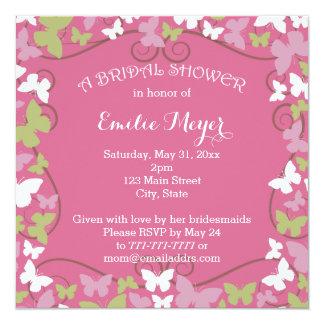 Pink Green Butterflies Bridal Shower Invitation
