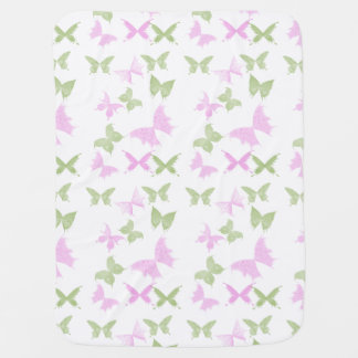 Pink Green Butterflies Girls Baby Blanket